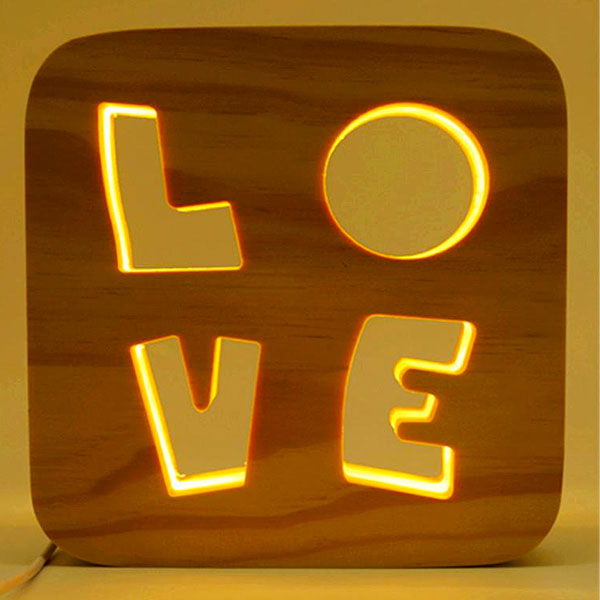 Picture of Led Light Wood Frame - Love