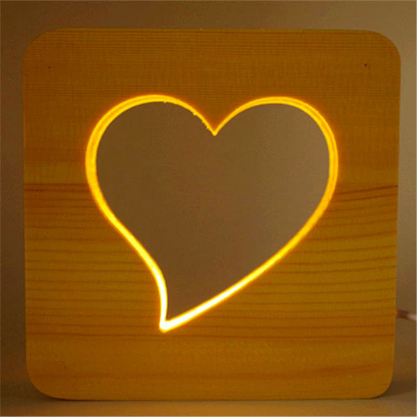 Picture of Led Light Wood Frame - Heart