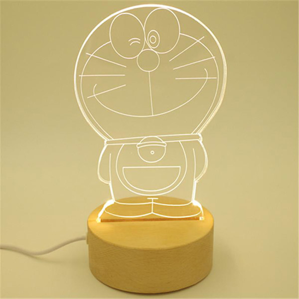 Picture of Led Light Frame With Wood Base - Cat