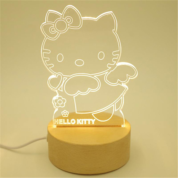 Picture of Led Light Frame With Wood Base - Hello Kitty