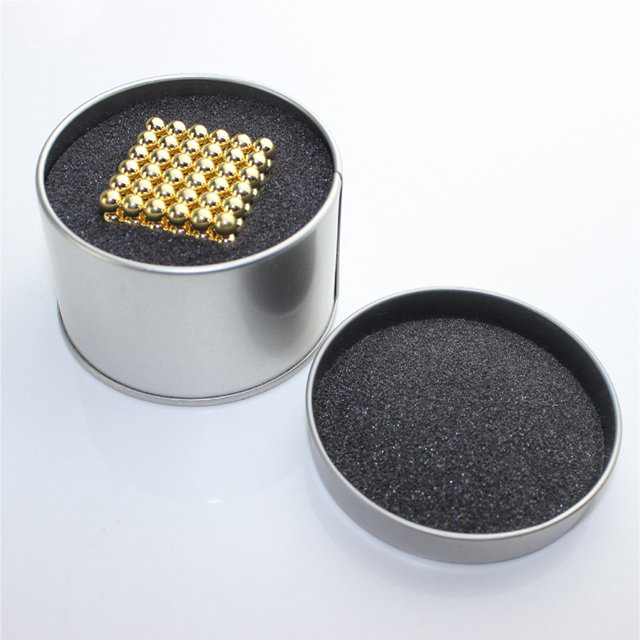 Picture of Magnetic Balls Golden Color 5mm 216 pcs - Cube Size 3x3 cm