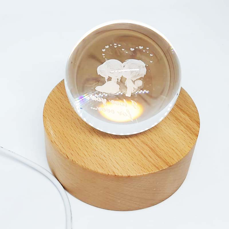 Picture of Crystal Ball with Wood Base - Love
