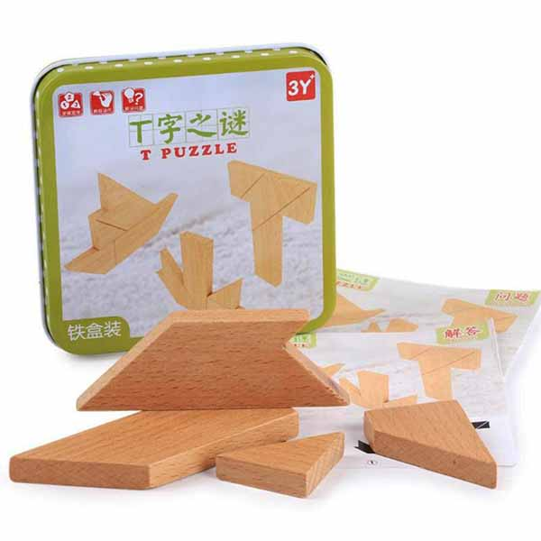 Wooden Jigsaw  T Puzzle Geometric Shapes
