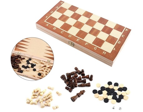 Picture of 3-in-1 Wooden Folding Chess, Checkers, Backgammon Board Game