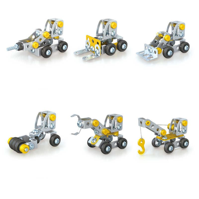 Picture of 6 Mini Construction Vehicles Assembling Blocks