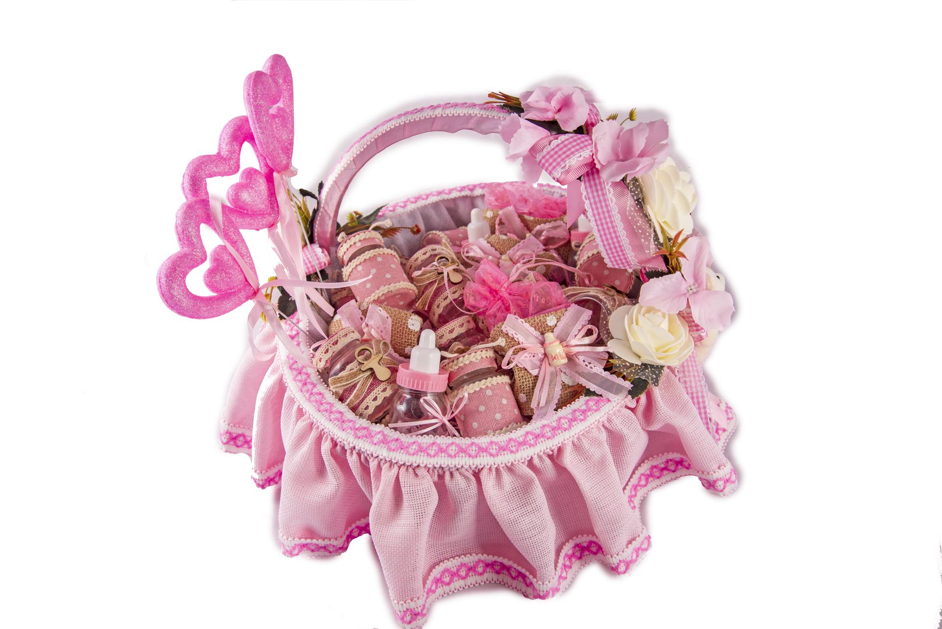 Picture of New born baby party basket  57 pieces pink color