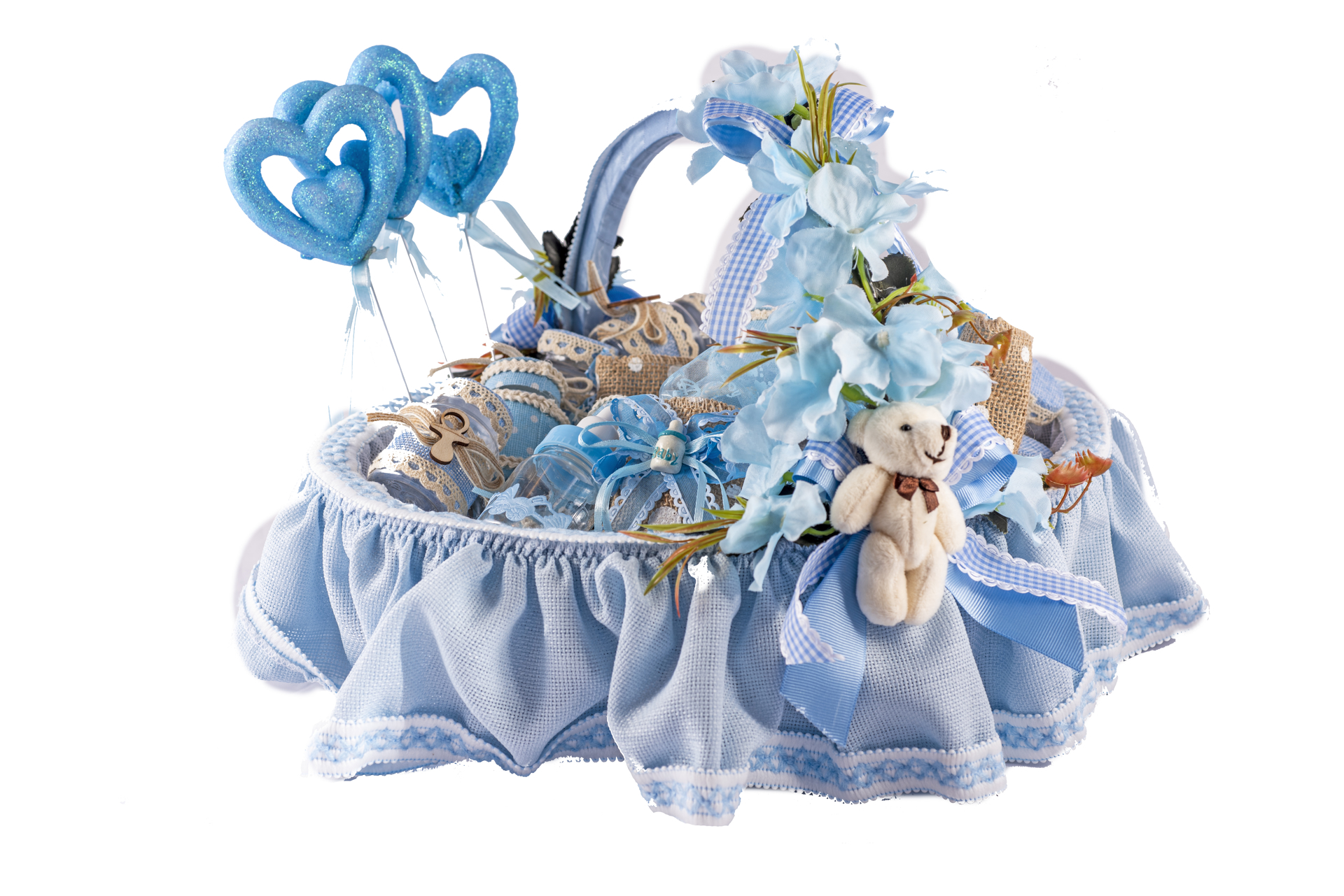 Picture of New born baby party basket  57 pieces Blue color